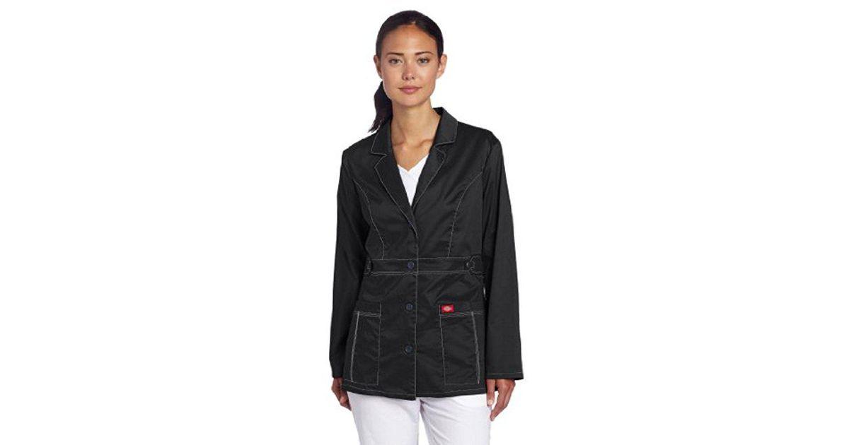 2235827ee98 Lyst - Dickies Scrubs 82408 Gen Flex Junior Fit Contrast Stitch Lab Coat in  Black