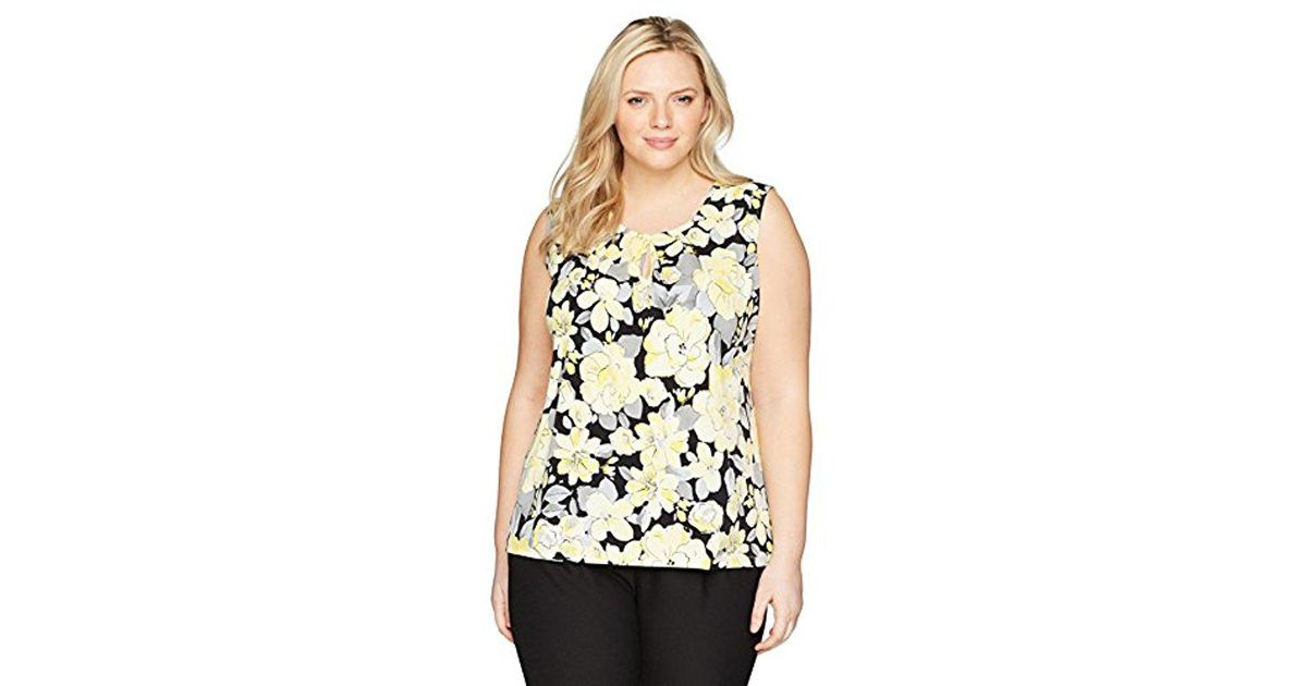 Kasper Womens Printed Ity Pleat Neck with Keyhole