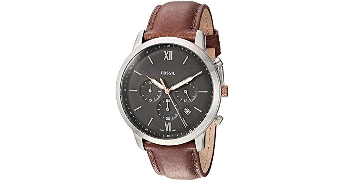 Für Uhr Armband Analog Fossil Mit Leder Herren Brown Quarz Fs5408 In UzqSMpV