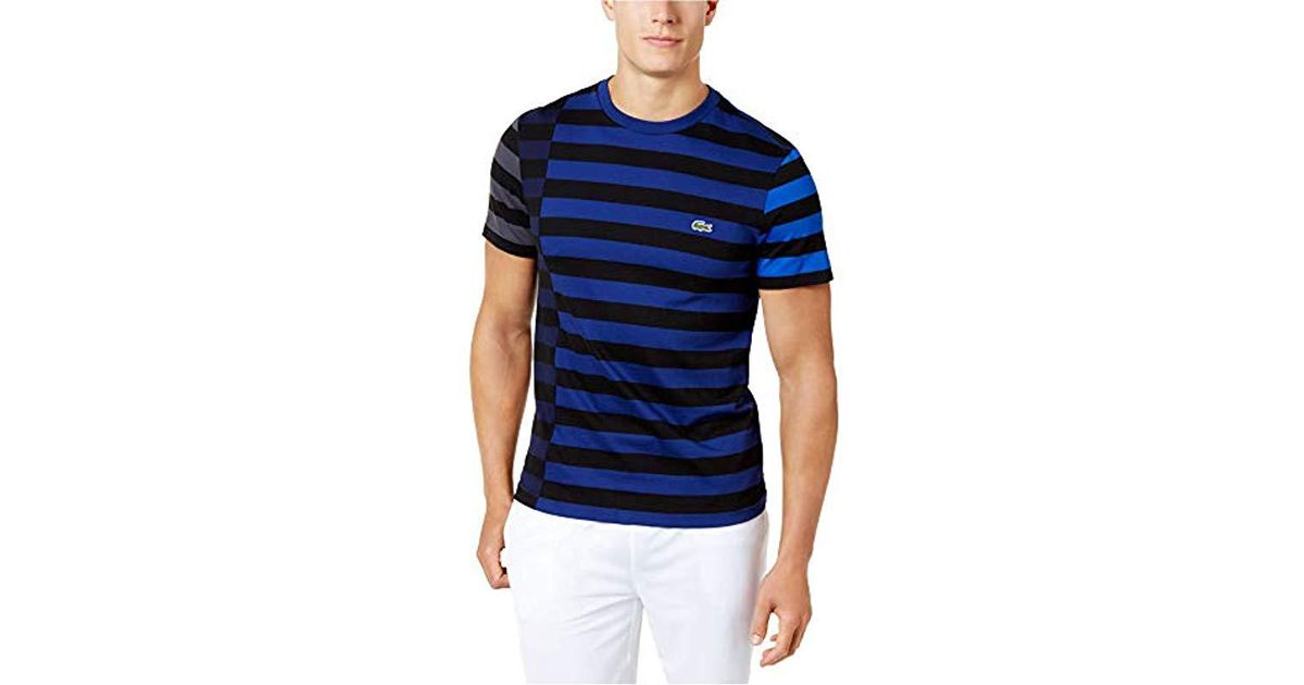 d5749bcf Lacoste Short Sleeve Broken Striped Jersey Tee-relaxed Fit in Blue for Men  - Lyst