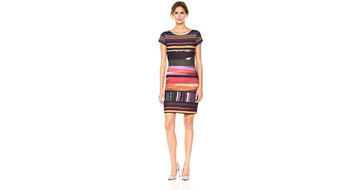 3007xxl Woman second Knee Vest Knitted Sleeve DressRedburgundy Second Short Length Desigual PTOiuwZXk