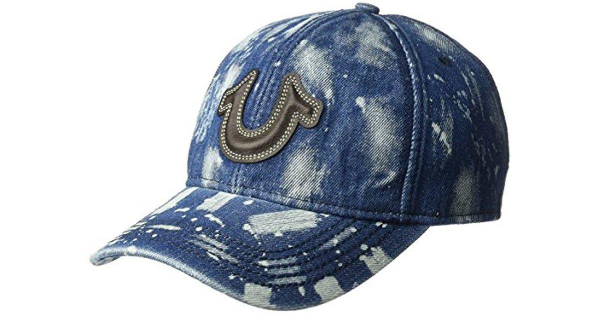 8cc048ee True Religion Splatter Denim Ball Cap in Blue for Men - Lyst
