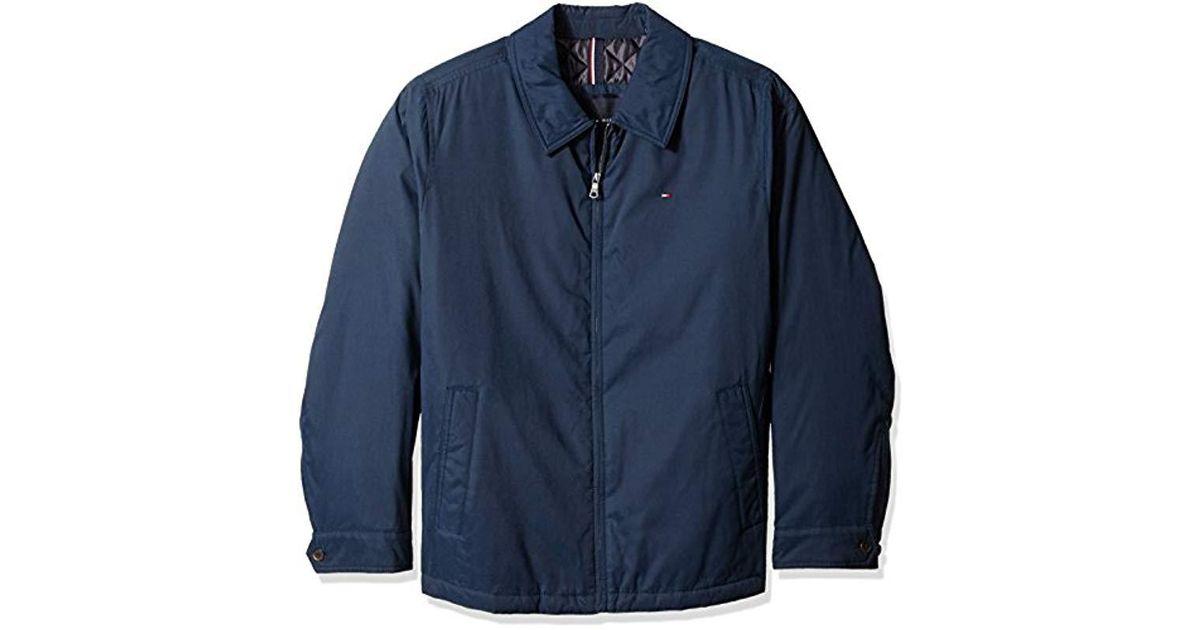 e33659de Tommy Hilfiger Big Micro Twill Laydown Collar Golf Jacket in Blue for Men -  Save 44% - Lyst