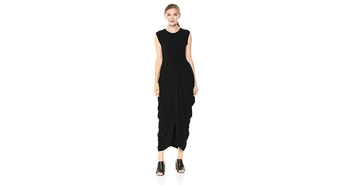 7762b8d522ed Norma Kamali Sleeveless Waterfall Dress in Black - Lyst