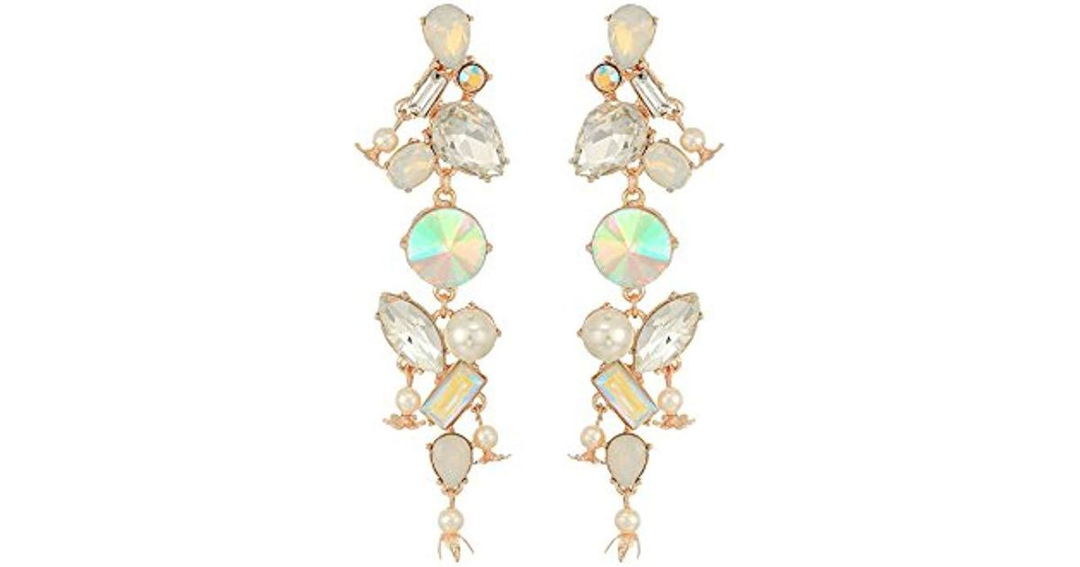 27dcdd3a9bb7f Betsey Johnson White Mixed Stone Linear Earrings
