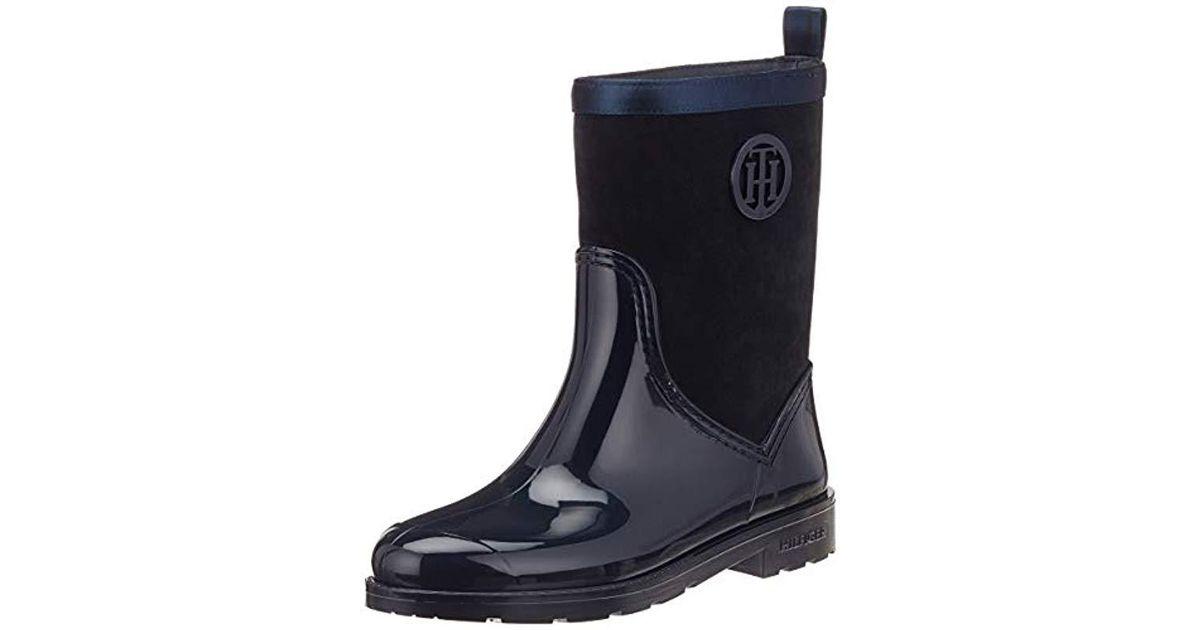 87470f9e1 Tommy Hilfiger Warmlined Suede Rain Boot Wellington in Blue - Lyst