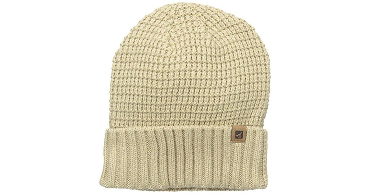 b4e463e6f92 Lyst - Sperry Top-Sider Waffle Knit Watchcap in Natural for Men