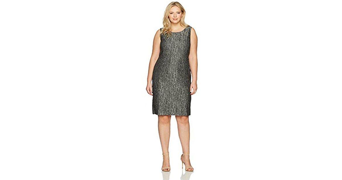 Lyst Kasper Plus Size Metallic Jacquard Pleated Dress