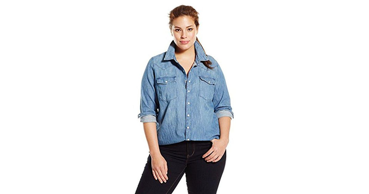 803d1c600be51 Lyst - Lucky Brand Plus-size Classic Western Shirt in Blue