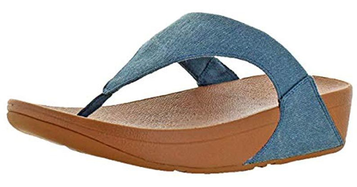 64a2e05a3b1 Lyst - Fitflop Lulu Toe-thong Sandals-shimmer-denim Flip-flop in Blue -  Save 15%