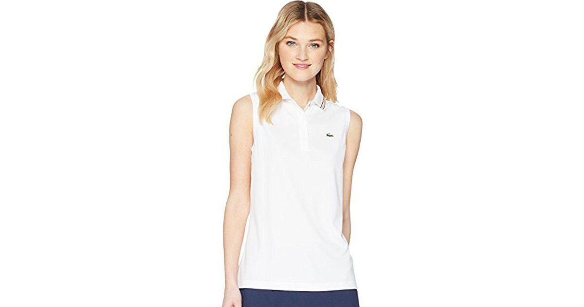 Pf3424 Lacoste Womens Sport Sleeveless Ultra Dry Tennis Polo with Mesh Back