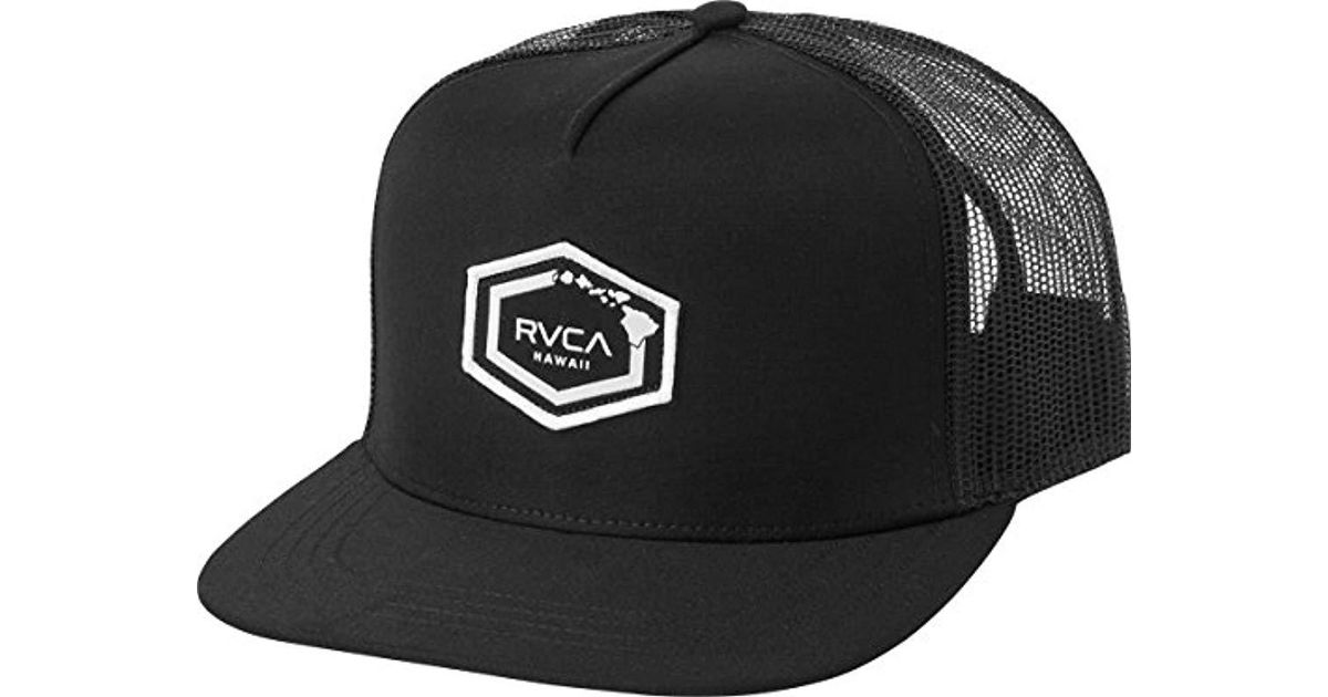 brand new 36220 fcc5c order lyst rvca hawaii hex patch trucker hat in black for men save  14.285714285714292 50640 8e1da