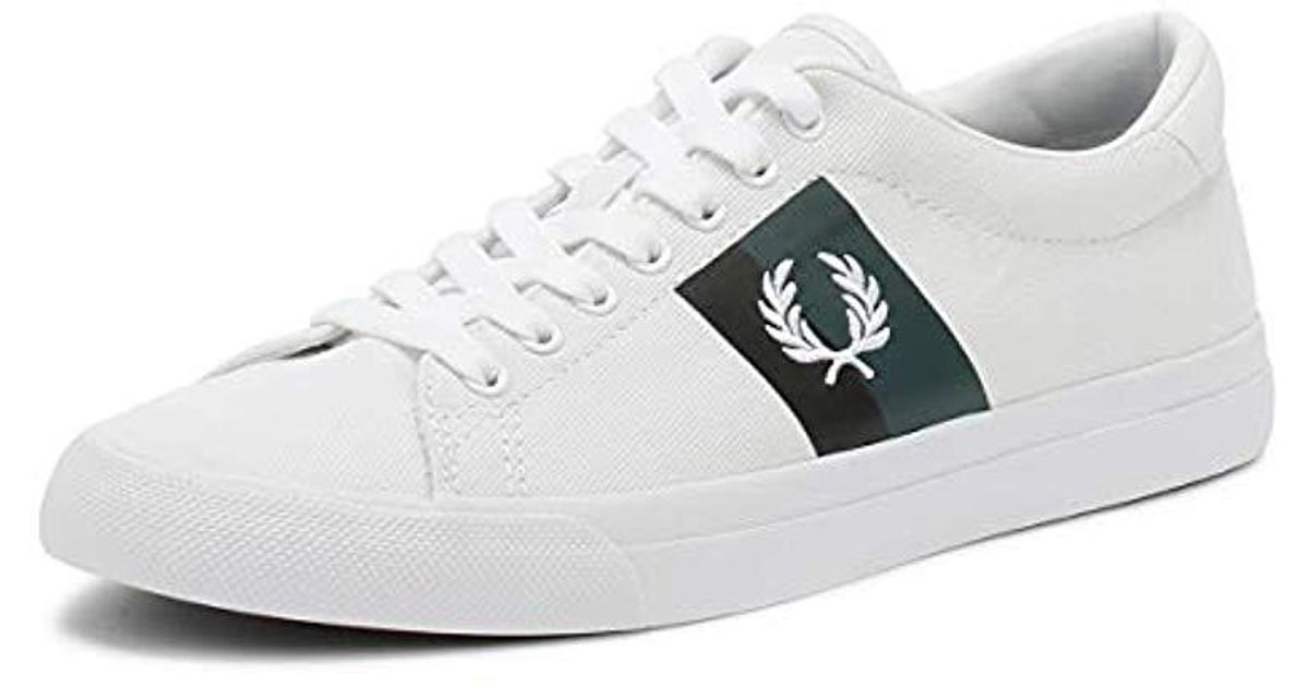1dddd5dc575fe Fred Perry Mens White Underspin Plastisol Twill Trainers for men
