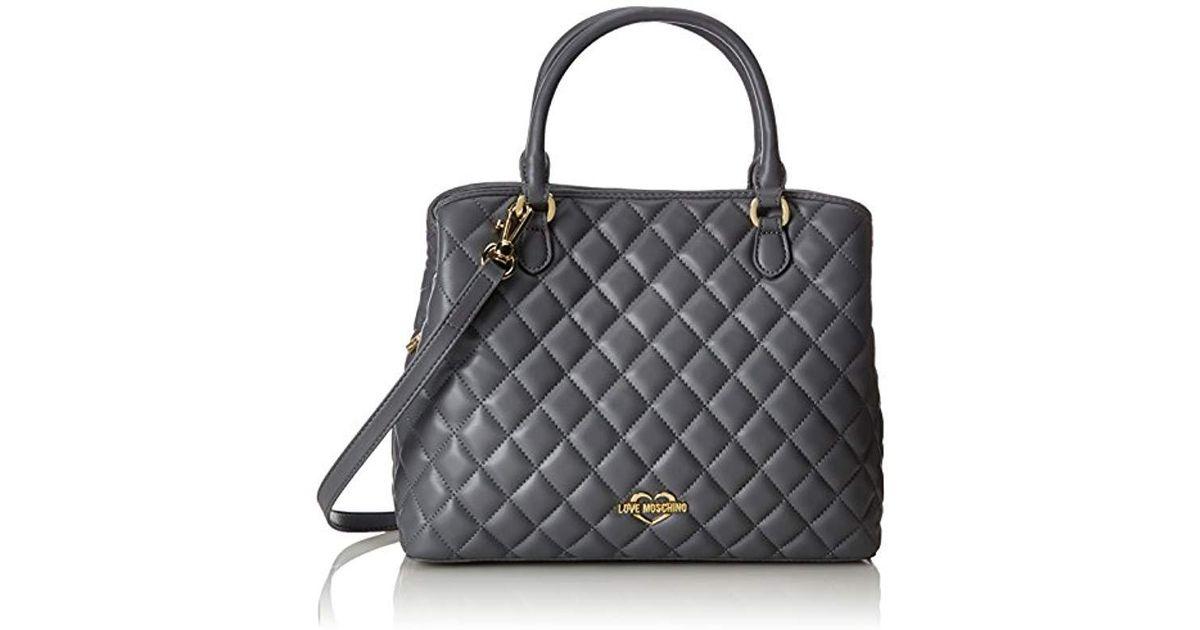 88ed42995 Love Moschino Borsa Quilted Nappa Pu Grigio, 's Shoulder Bag, Grey,  11x27x32 Cm (b X H T) in Gray - Lyst