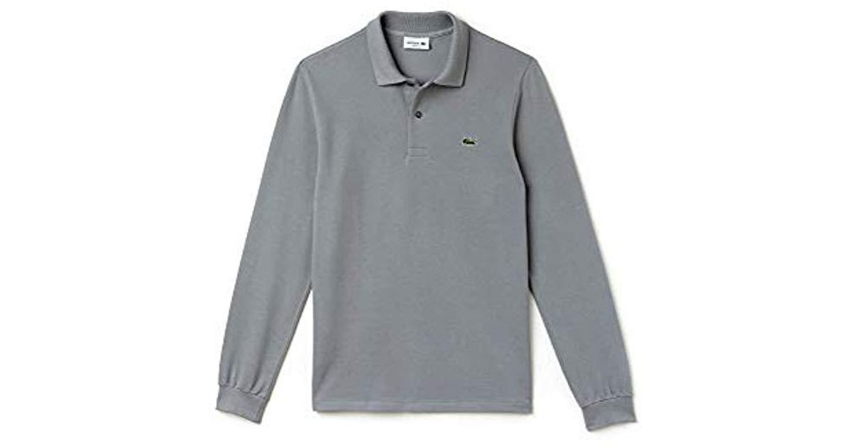 3eedf49e96 Lacoste Long Sleeve Classic Pique L.12.12 Original Fit Polo Shirt in Gray  for Men - Save 17% - Lyst