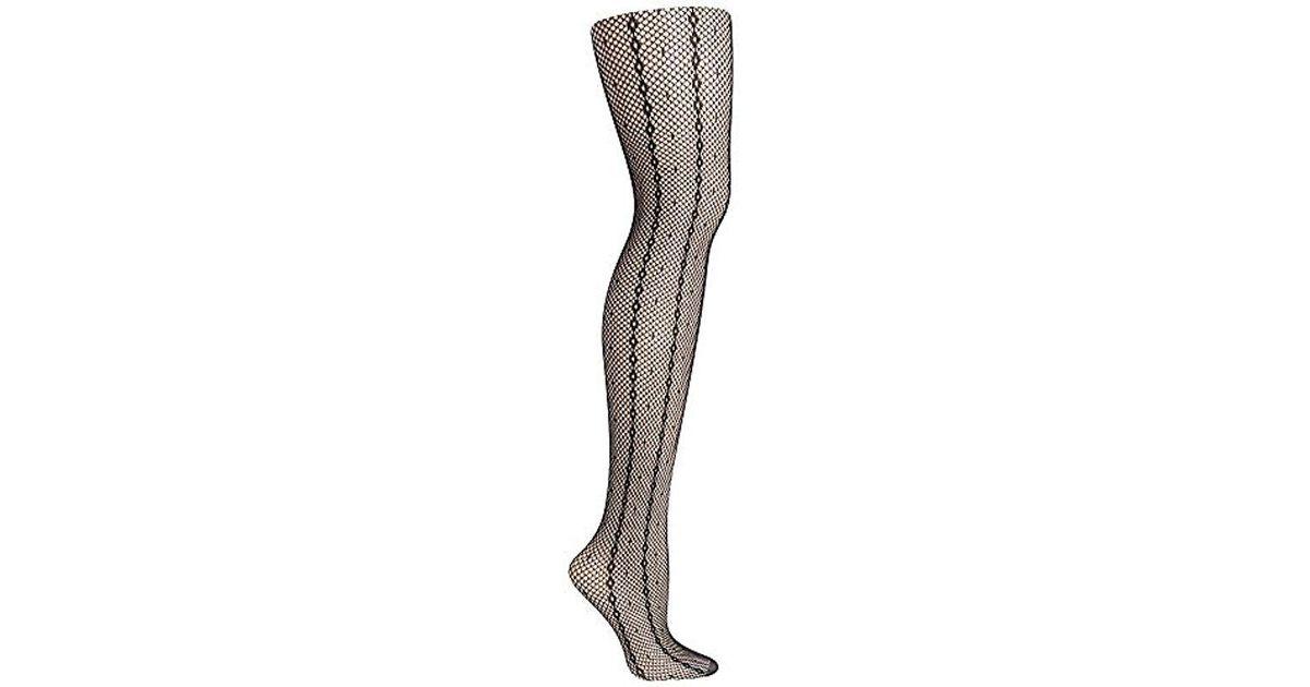 71a87f33cc02e Lyst - Hanes Plus Size Curves Fashion Point D'espirit Stripe Net Tight in  Black