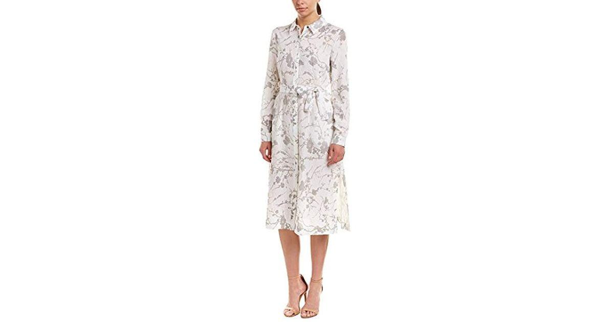 25091d431e Lyst - T Tahari Millie Metallic Foil Linen Button Down Shirt Dress in White  - Save 59%