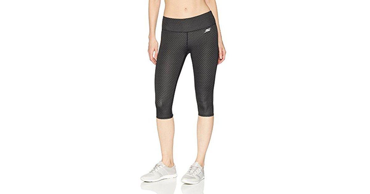 e091ea3c69f0a Skechers Dot Capri Active Stretch Workout Yoga Leggings in Black - Lyst