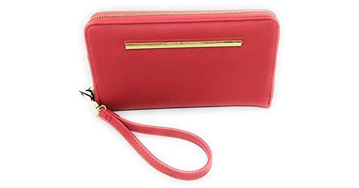 Steve Madden BZIPPY Womens Zip Around Wallet//Wristlet with gold hardware Black