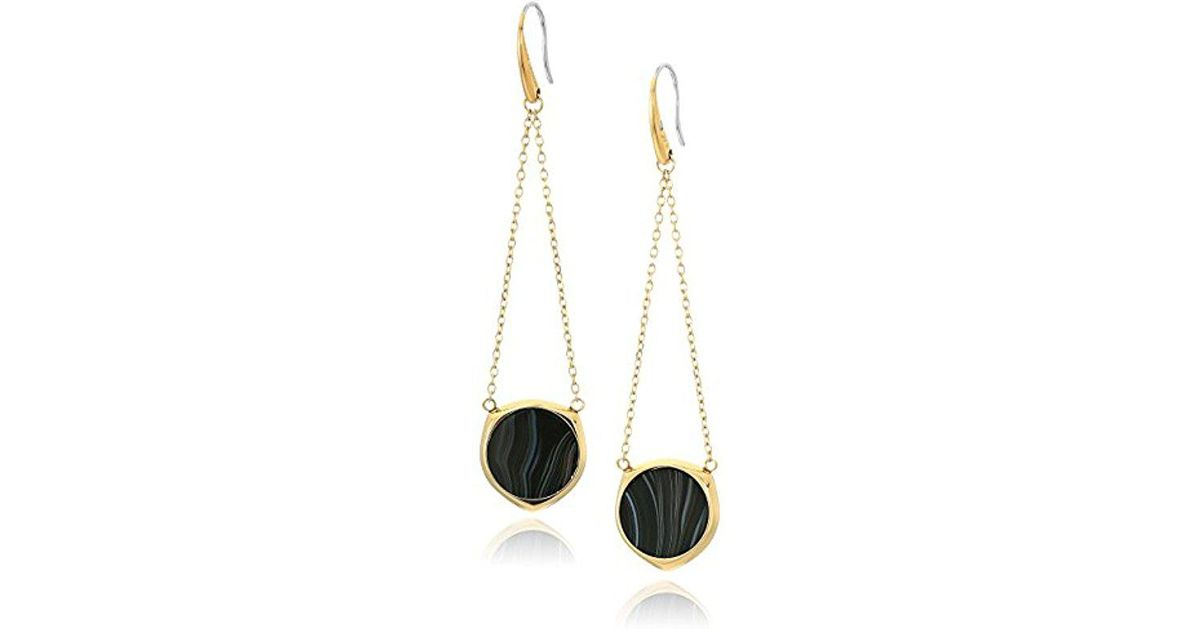 Lyst Michael Kors Cool Clic Gold Tone And Black Agate Drop Earrings In Metallic