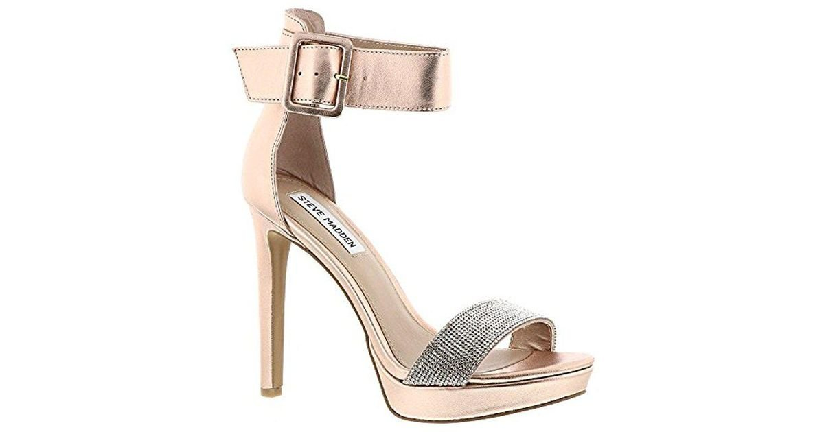 Steve Madden Circuit Oversized Buckle Strap Open Toe Heel Tan