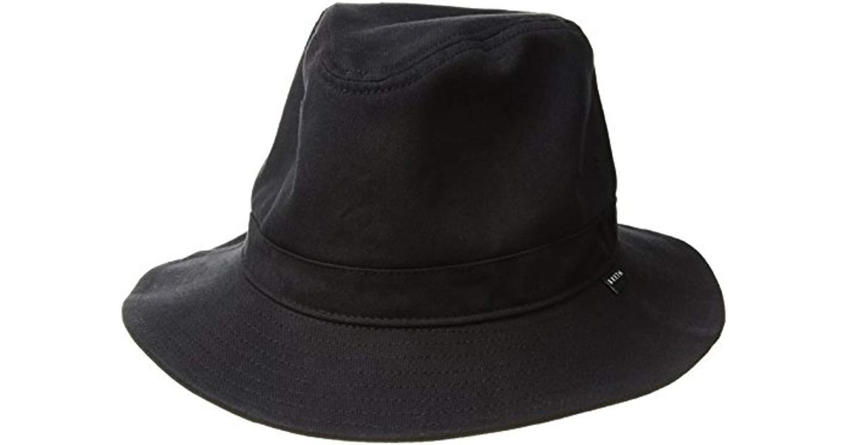 c523be9b6476f Brixton Ronson Quilted Short Brim Cotton Fedora Hat in Black for Men - Lyst