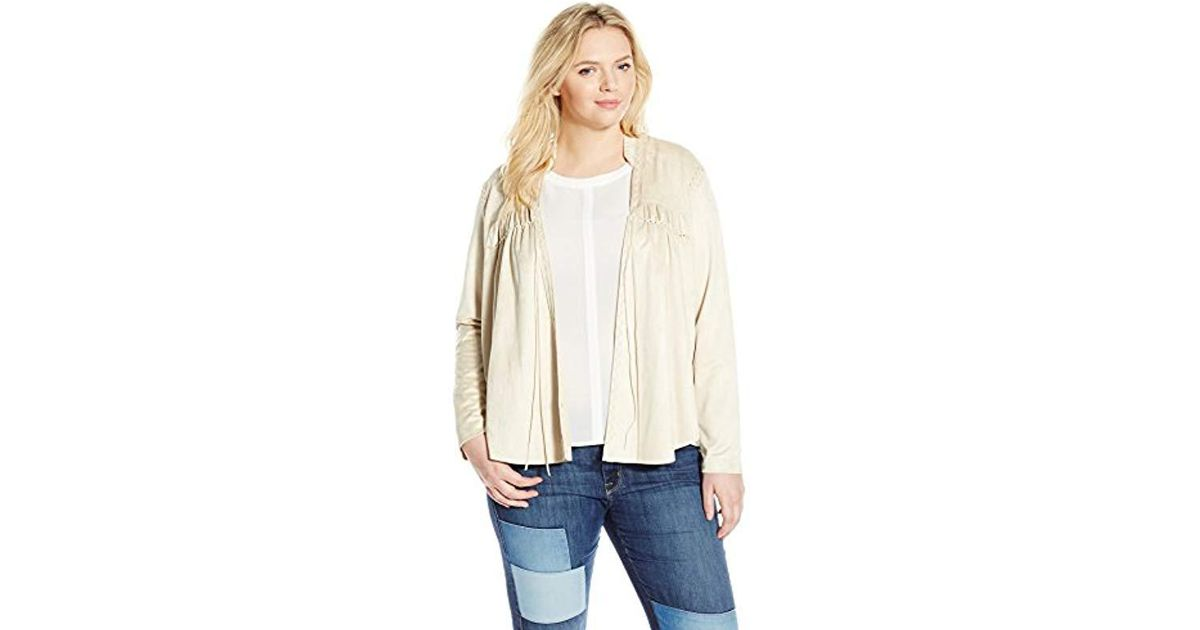 f3b81853ab1 Lyst - Jessica Simpson Plus-size Tulip Faux Suede Jacket Bleached Sand in  Natural
