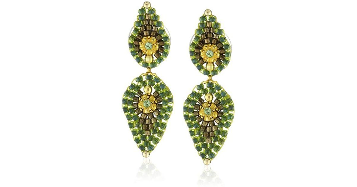 7290ac8d28eb6 Miguel Ases Small Green Lotus Petal Drop Earrings