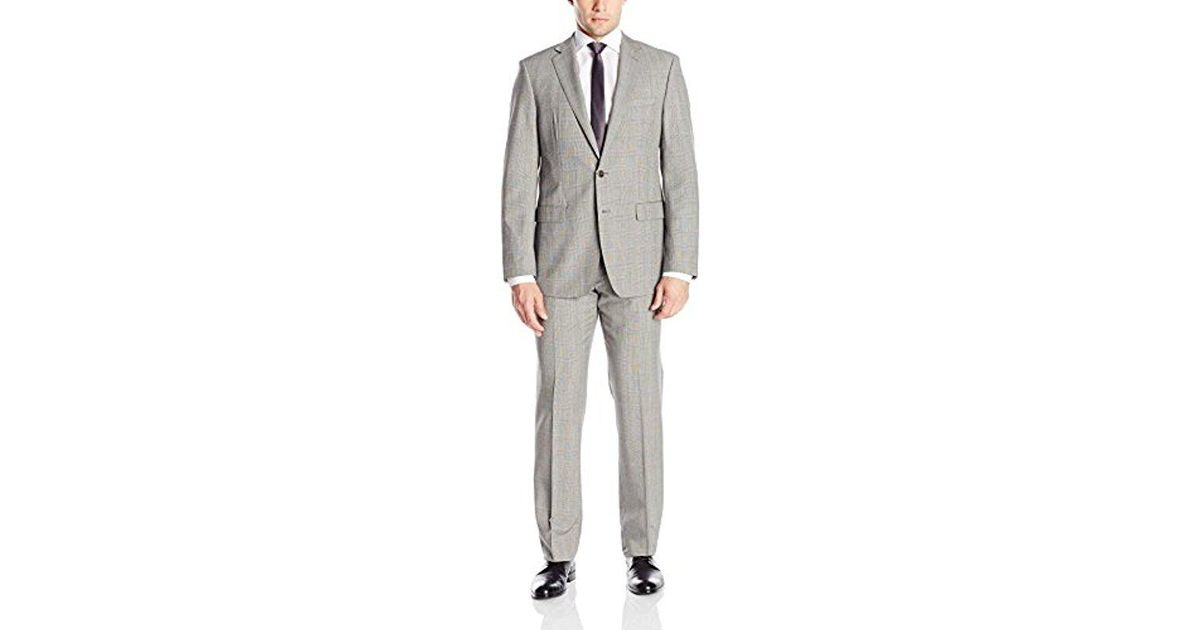 0882ff8e914 Lyst - CALVIN KLEIN 205W39NYC Mabry Slim Fit 2 Button Side Vent Notch Lapel  Flat Front Trouser In A 100% Wool Black white Plaid Suit in Black for Men