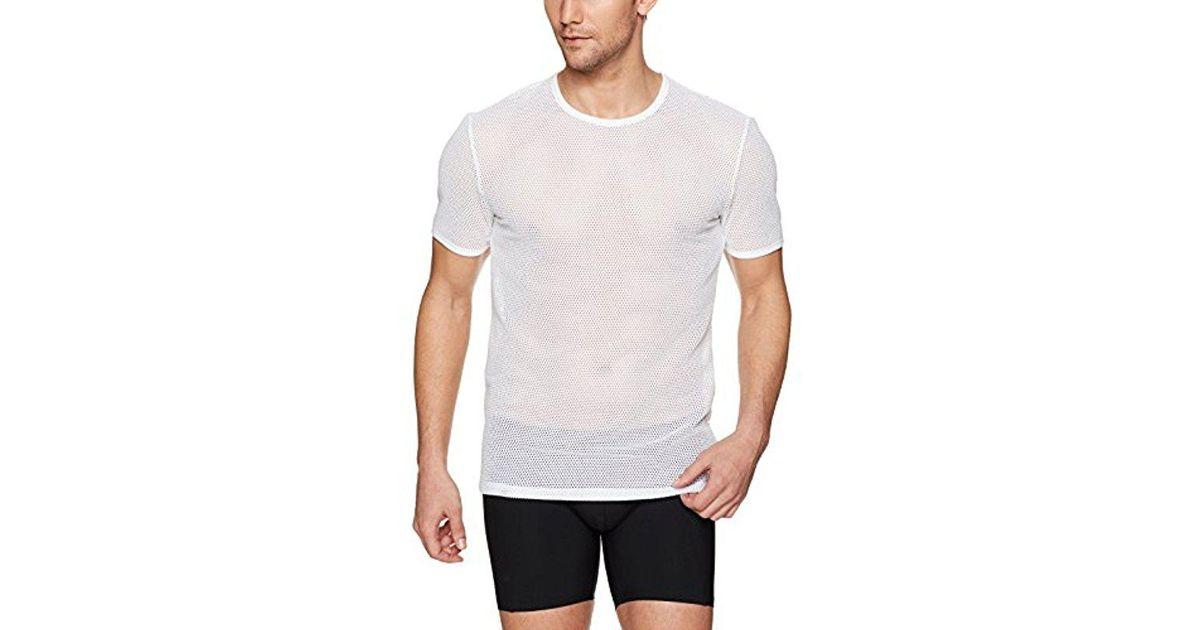 d5a6f239afcdf Lyst - Calvin Klein Body Mesh Short Sleeve Crew Neck Tee in White for Men -  Save 33%