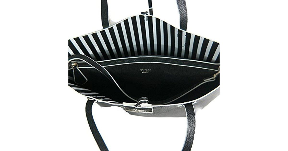 94e53ee843 Guess Arianna Striped Medium Grab Bag Black Stripe Mcelhinneys. Lyst Guess  Bobbi Black White Stripe Inside Out Tote In