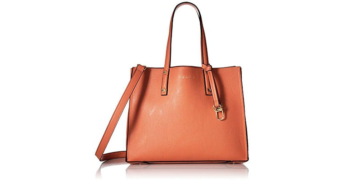 14f908fac8 Calvin Klein Faux Leather Small East/west Tote - Lyst