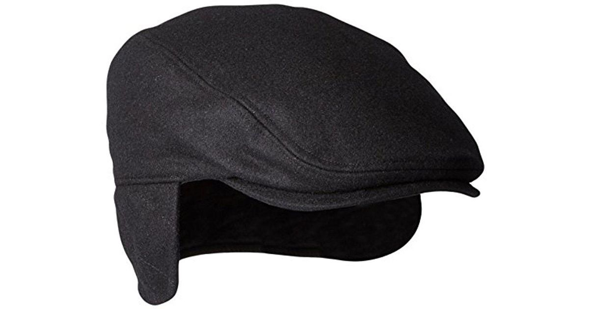 Lyst - Dockers Solid Melton Hat With Fold-down Ear Flaps in Black for Men 96eb2d0992a0