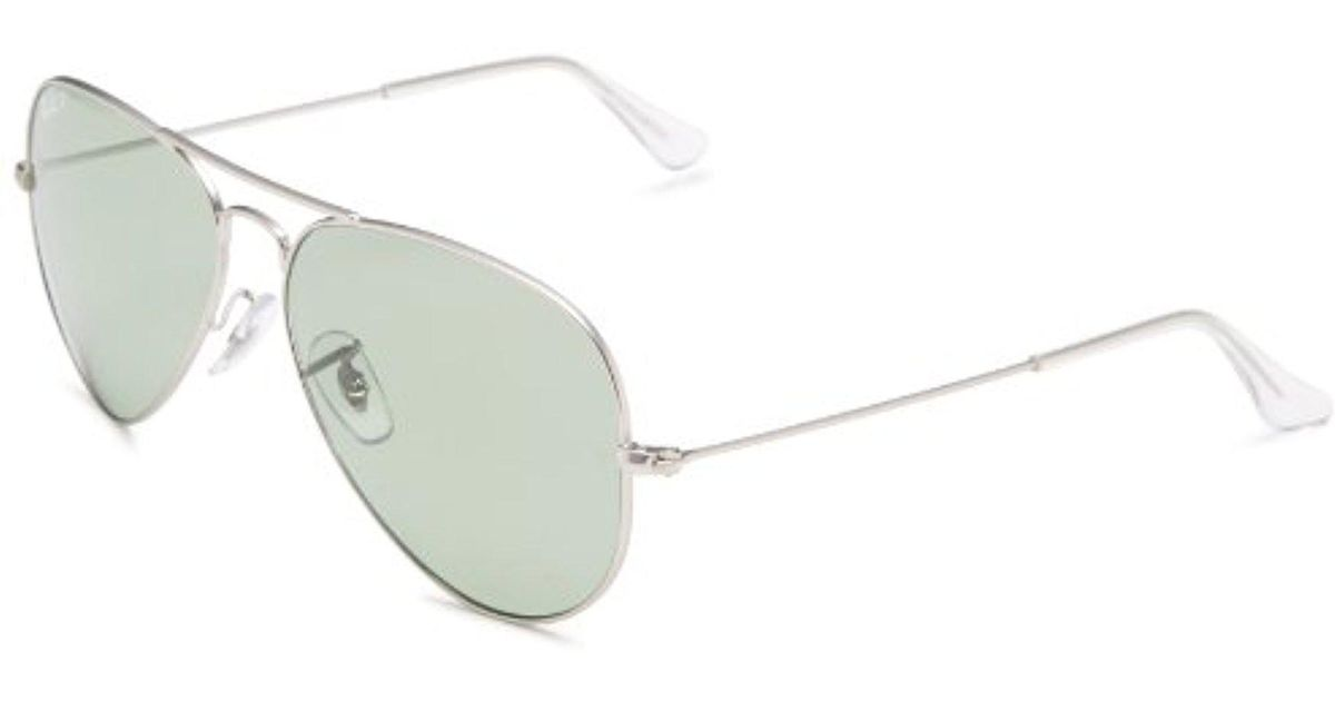 4e519779173 Lyst - Ray-Ban Aviator Large Metal - Matte Silver Frame Polar Green Lenses  58mm Polarized in Green