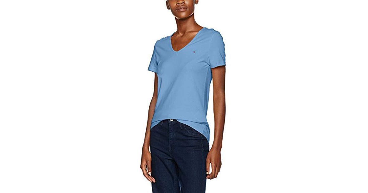 698fc9501702c Tommy Hilfiger Lizzy V-nk Top Ss T-shirt in Blue - Lyst