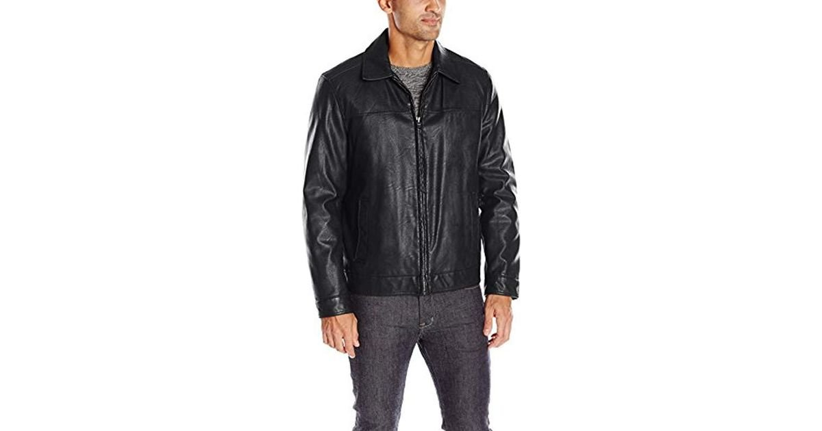 Tommy Hilfiger Mens Smooth Lamb Leather Laydown Collar Open Bottom Jacket