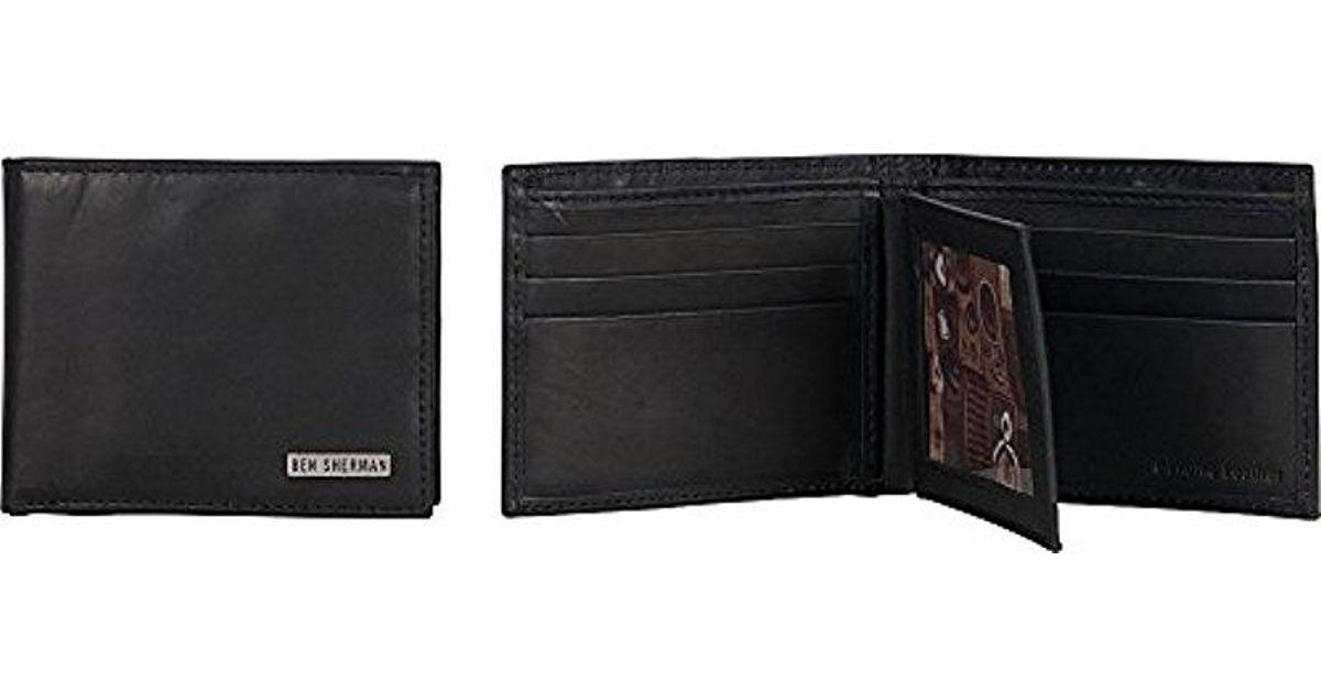 Ben Sherman Mens Leather Nine Pocket Passcase Wallet with Id Window RFID Black