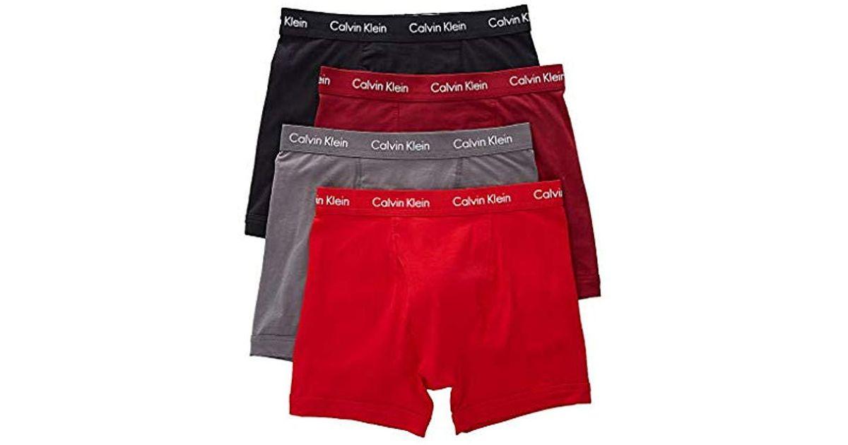 1883f3208e21 Lyst - Calvin Klein Underwear Cotton Stretch 4 Pack Boxer Briefs in Red for  Men