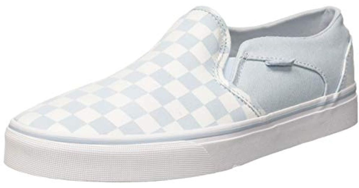 e20d8cf9147d0 Vans Asher Classic Checkerboard Slip On Trainers in Blue - Lyst