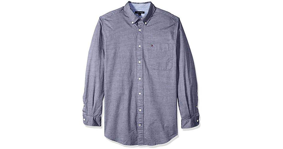 4894b84f2 Lyst - Tommy Hilfiger Big And Tall Big   Tall Capote Long Sleeve Shirt in  Blue for Men - Save 48%