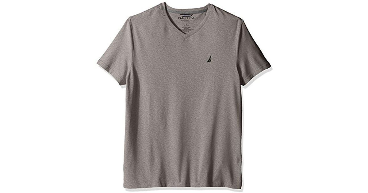 5a8e0569 Lyst - Nautica Short Sleeve Solid Slim Fit V-neck T-shirt in Gray for Men
