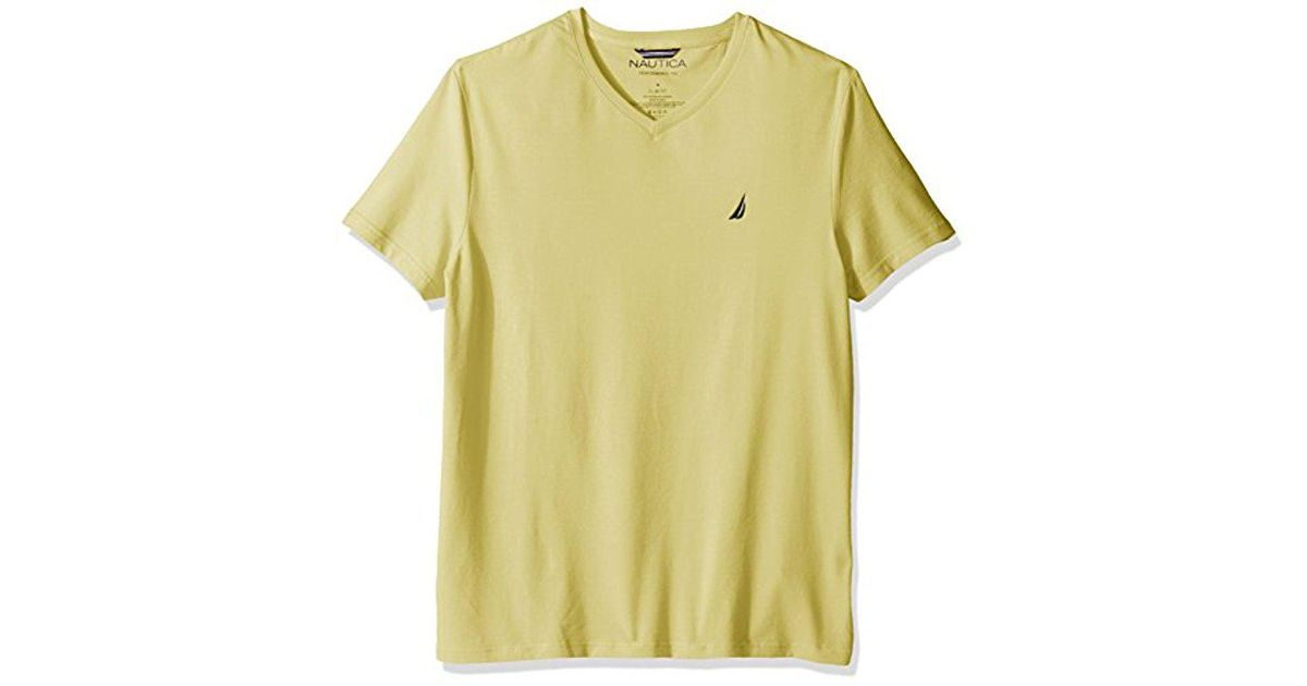 026baefd Lyst - Nautica Short Sleeve Solid Slim Fit V-neck T-shirt in Yellow for Men