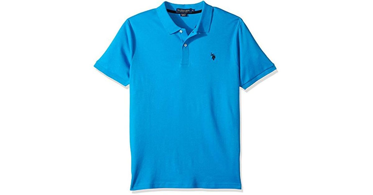 9e77730e8 Lyst - U.S. POLO ASSN. Classic Fit Solid Short Sleeve Interlock Polo Shirt  in Blue for Men