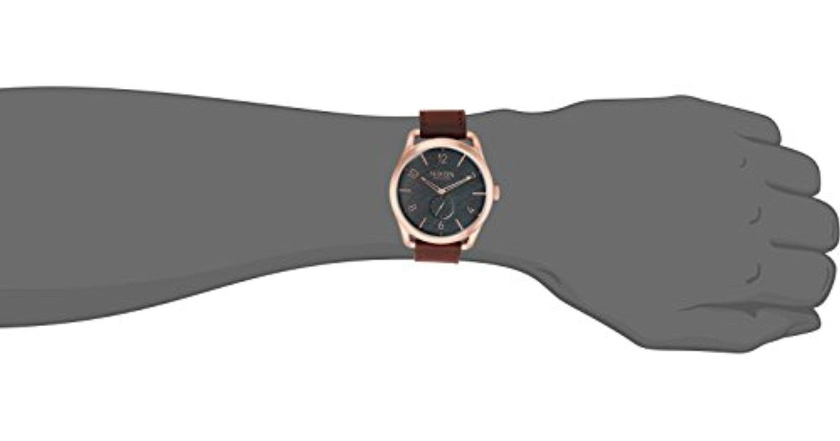 daf46419cae Lyst - Nixon A4651890 C45 Leather Analog Display Swiss Quartz Brown Watch  in Brown for Men