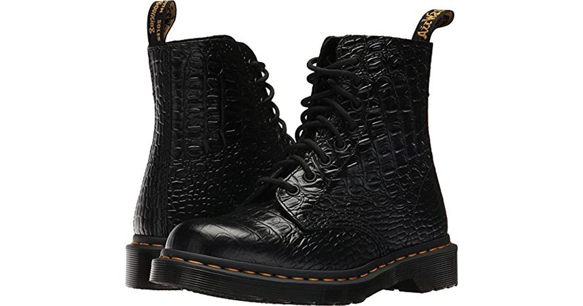 9a3d67208 Dr. Martens Pascal Croc Ankle Boot in Black - Lyst
