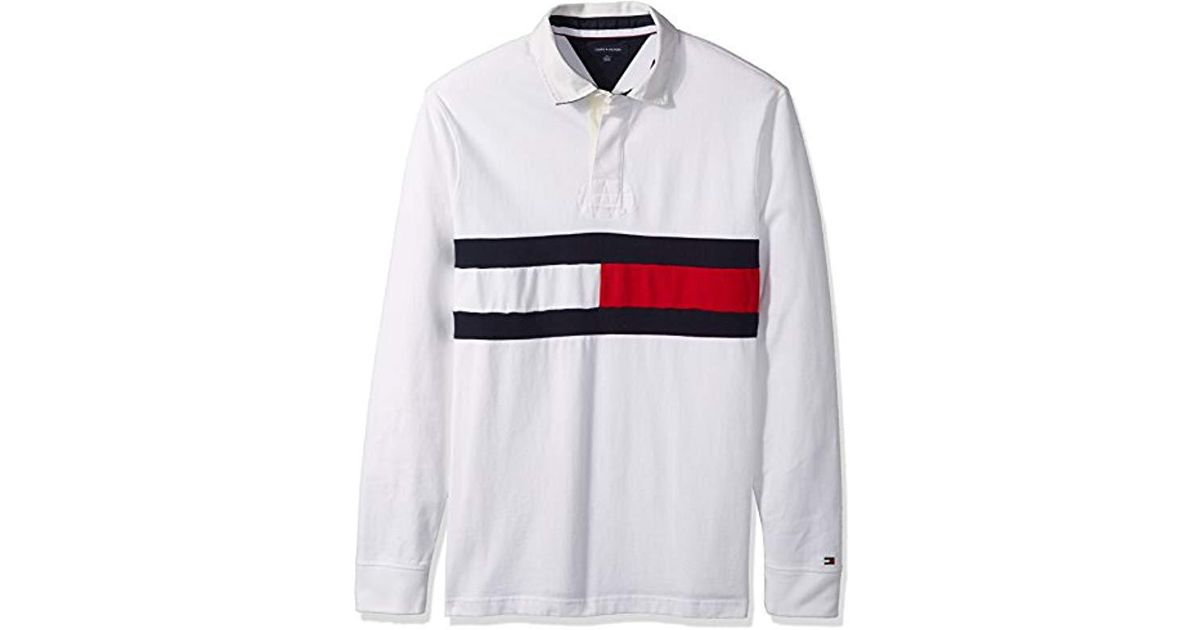 73a8ffe18 Tommy Hilfiger Big And Tall Long Sleeve Polo Shirt With Rugby Flag in White  for Men - Lyst