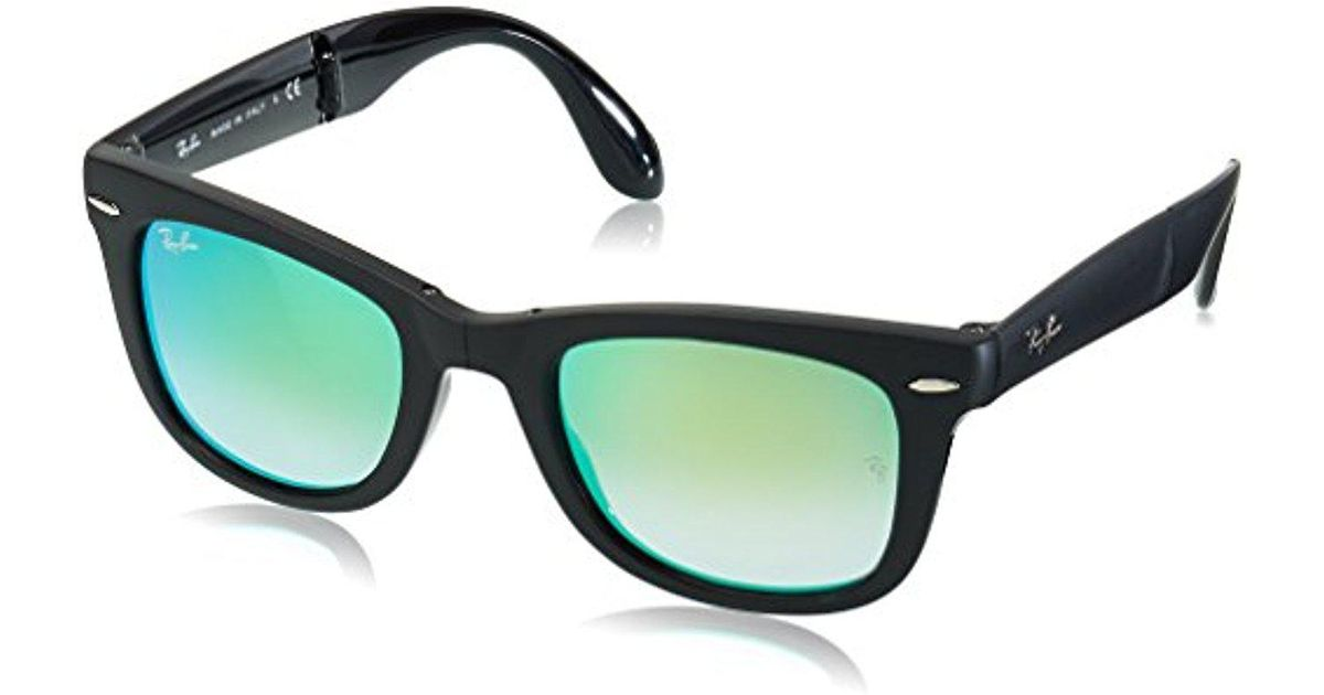 758899dfd01b3 Lyst - Ray-Ban Folding Wayfarer - Matte Black Frame Green Mirror Gradient  Lenses 50mm Non-polarized in Black