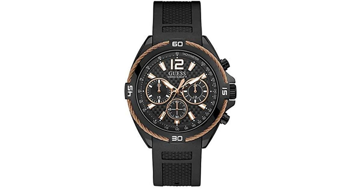 Guess Comfortable Rose Gold Tone Black Stain Resistant Silicone Chronograph Watch Color Blalck Model U1168g3 For Men