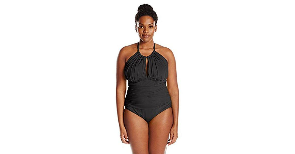 a0e3717a19014 Lyst - Kenneth Cole Reaction Plus-size Ruffle Shuffle Solid High-neck  Swimsuit in Black