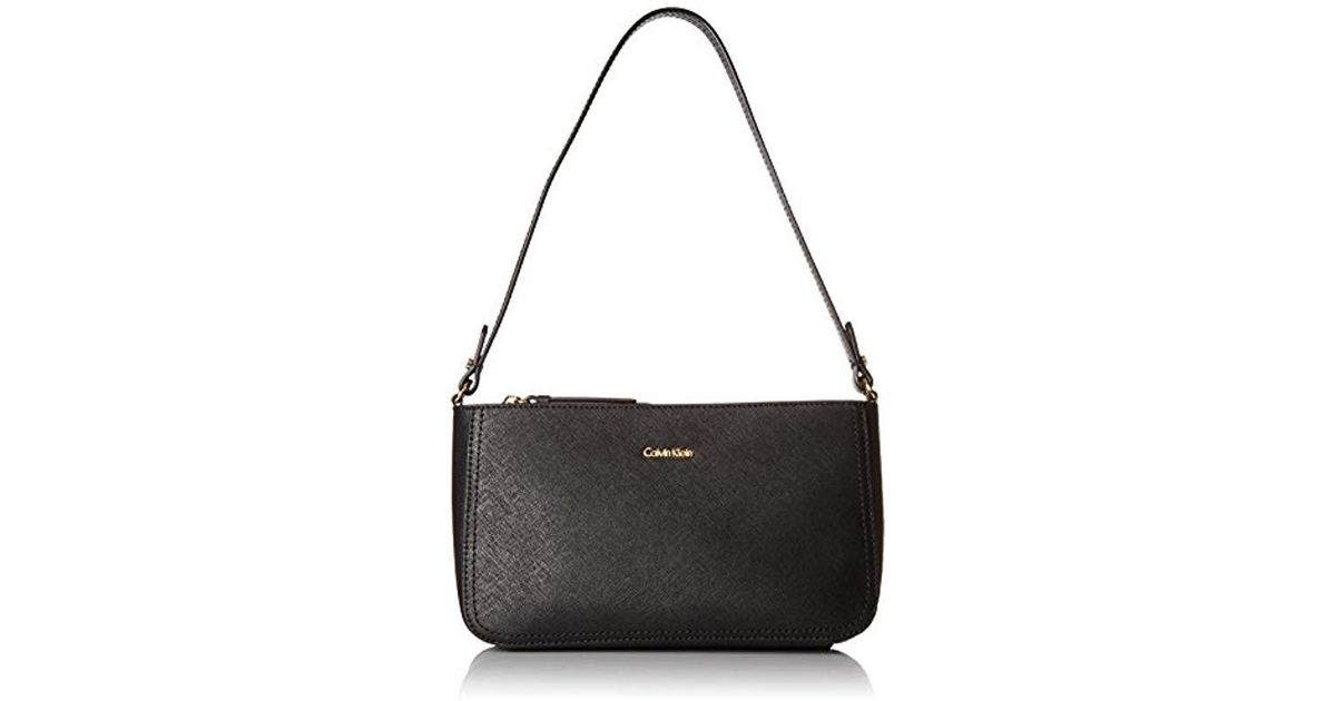 3837777e640 Calvin Klein Saffiano Leather Demi Shoulder Bag With Charm Hanger in Black  - Lyst
